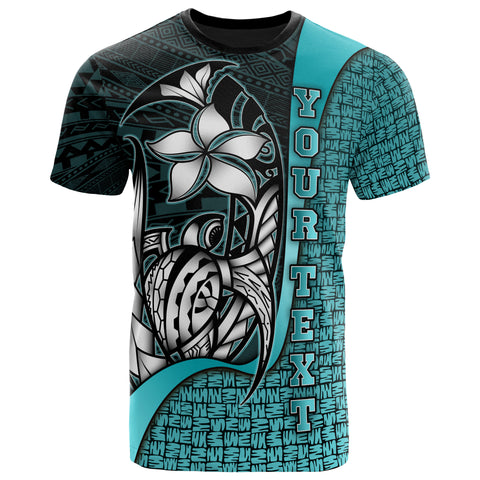 Samoa Polynesian Custom Personalised T-Shirt Samoa Turquoise - Turtle with Hook