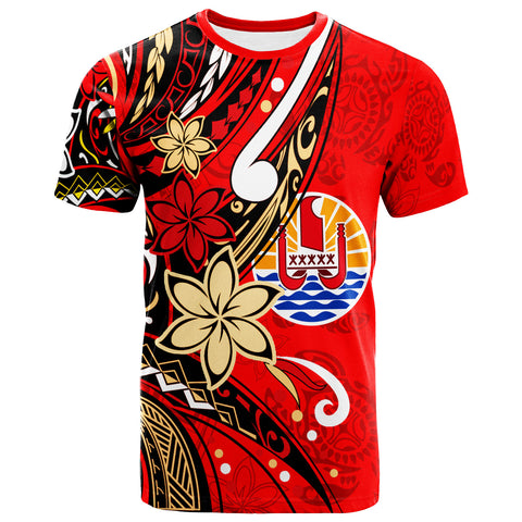Tahiti T-Shirt - Tribal Flower With Special Turtles Red Color - BN20