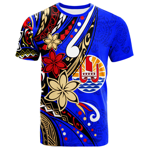 Tahiti T-Shirt - Tribal Flower With Special Turtles Dark Blue Color - BN20