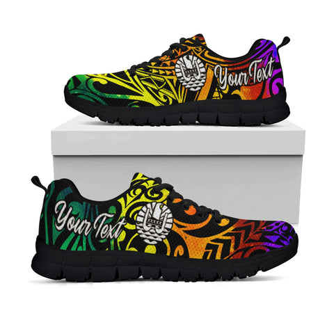 Tahiti Custom Personalised Sneakers - Rainbow Polynesian Pattern - BN11