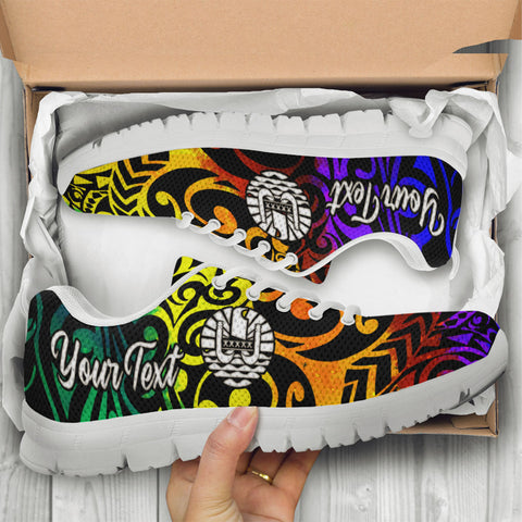 Image of Tahiti Custom Personalised Sneakers - Rainbow Polynesian Pattern - BN11