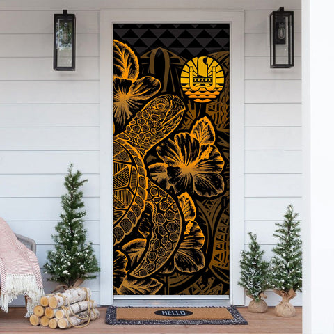Tahiti Door Cover Turtle Hibiscus Gold - BN39