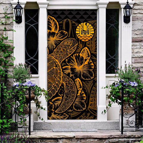 Image of Tahiti Door Cover Turtle Hibiscus Gold
