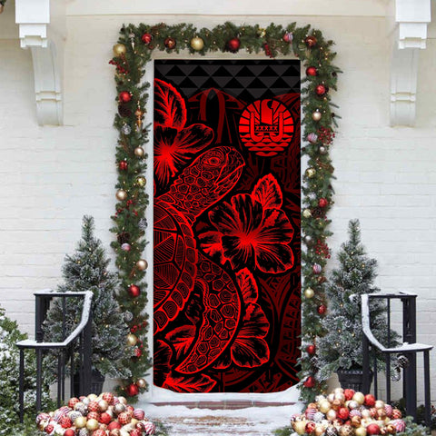 Image of Tahiti Door Cover Turtle Hibiscus Red - BN39