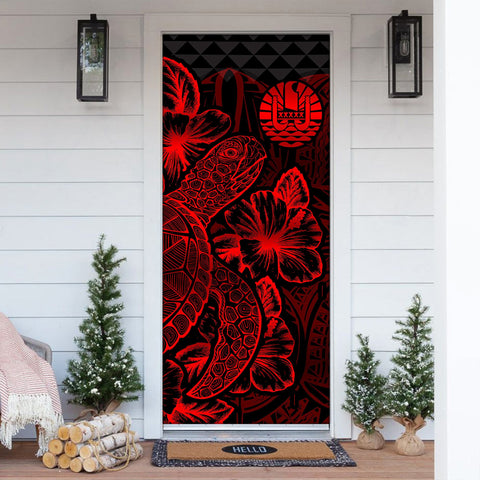 Tahiti Door Cover Turtle Hibiscus Red - BN39