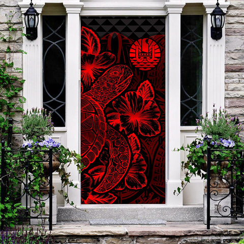 Tahiti Door Cover Turtle Hibiscus Red