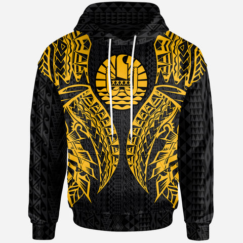 Tahiti Zip-Up Hoodie - Polynesian Lion Head Gold Style