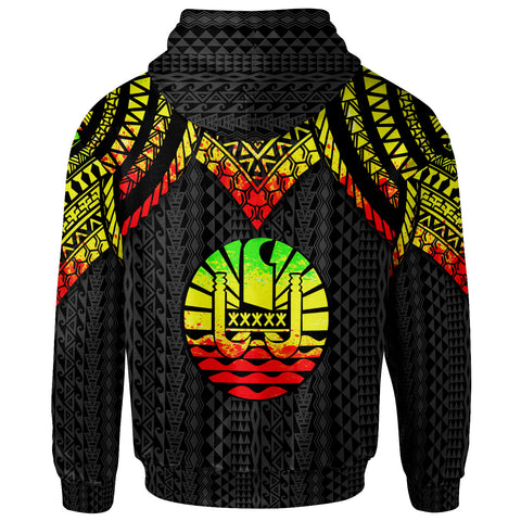 Image of Tahiti Custom Personalised Zip-Up Hoodie - Polynesian Armor Style Reagge - BN39