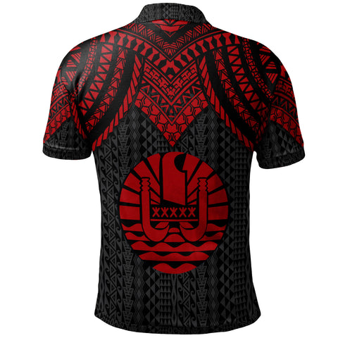 Tahiti Custom Personalised Polo Shirt - Polynesian Armor Style Red - BN39