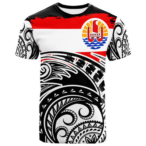 Tahiti T-Shirt - Ethnic Style With Round Black White Pattern - BN20