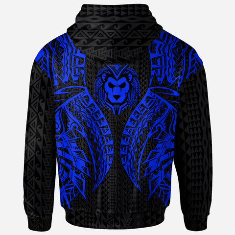 Image of Tahiti Zip-Up Hoodie - Polynesian Lion Head Blue Style - BN39