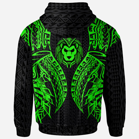Tahiti Zip-Up Hoodie - Polynesian Lion Head Green Style - BN39