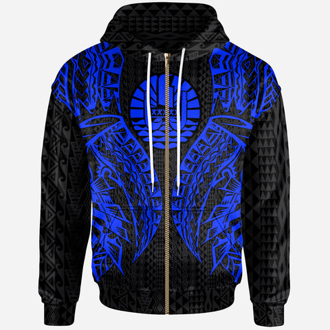 Image of Tahiti Zip-Up Hoodie - Polynesian Lion Head Blue Style