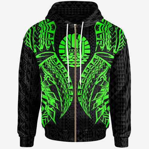 Tahiti Zip-Up Hoodie - Polynesian Lion Head Green Style