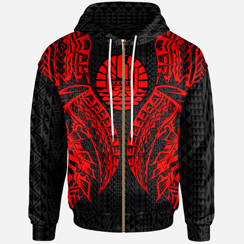 Tahiti Zip-Up Hoodie - Polynesian Lion Head Red Style