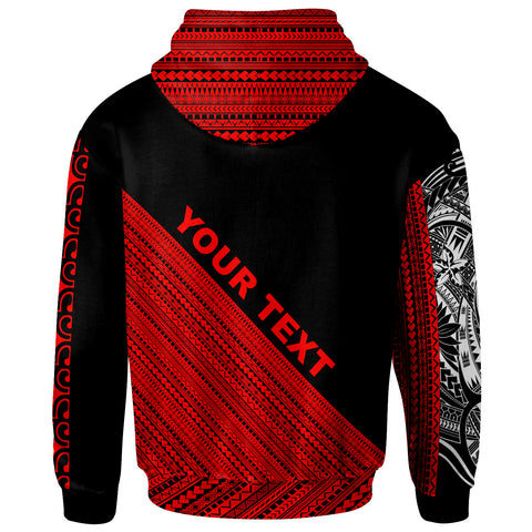 Tonga Custom Personalised Zip Hoodie - Polynesian Diagonal Pattern Red - BN20