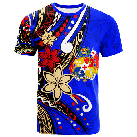 Image of Tonga  T-Shirt - Tribal Flower With Special Turtles Dark Blue Color - BN20