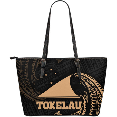 Image of Tokelau Polynesian Leather Tote Bag - Gold Tribal Wave