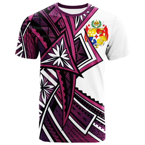 Tonga  T-Shirt - Tribal Flower Special Pattern Purple Color - BN20