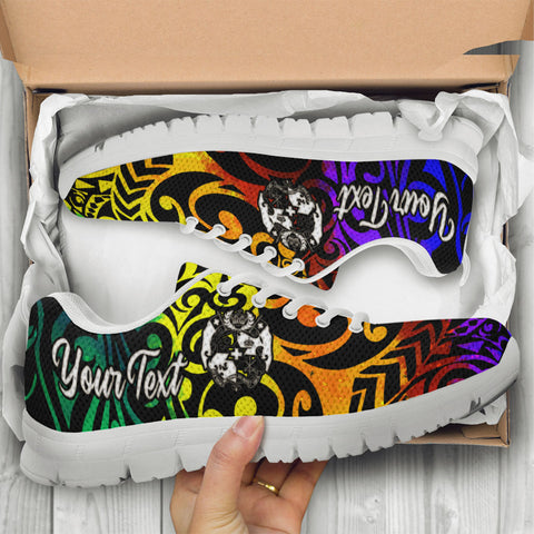 Image of Tonga Custom Personalised Sneakers - Rainbow Polynesian Pattern - BN11