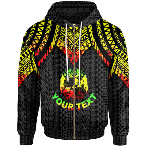 Tonga Custom Personalised Zip-Up Hoodie - Polynesian Armor Style Reagge - BN39