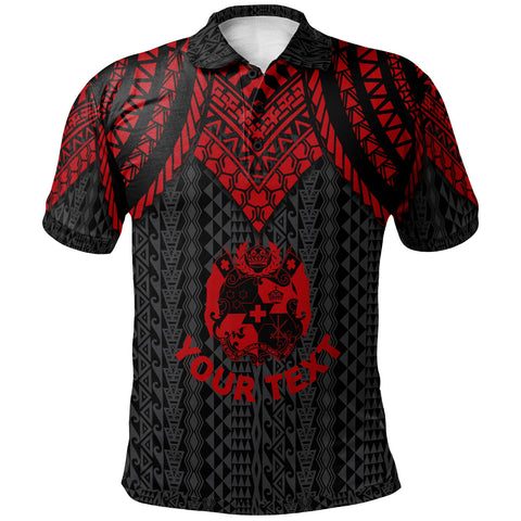 Tonga Custom Personalised Polo Shirt - Polynesian Armor Style Red - BN39