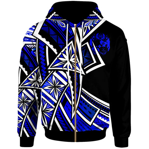 Image of Tonga Zip-Up Hoodie - Tribal Flower Special Pattern Blue Color - BN20