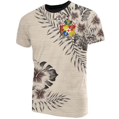 Tonga T-Shirt The Beige Hibiscus Front