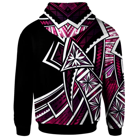 Image of Tonga Zip-Up Hoodie - Tribal Flower Special Pattern Purple Color - BN20
