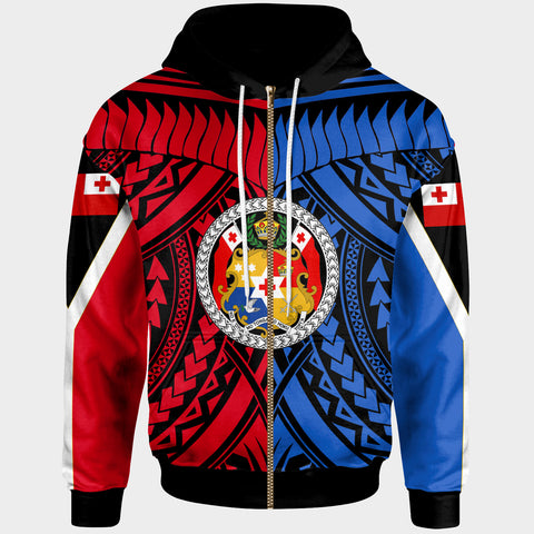 Image of Tonga Zip-Up Hoodie - Tooth Shaped Necklace Red Blue - BN20