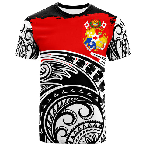 Tonga Custom Personalised T-Shirt - Ethnic Style With Round Black White Patterns - BN20