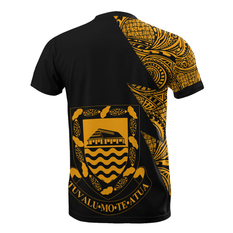 Tuvalu Custom Personalised T-Shirt - Polynesian Pattern Gold Style - BN09