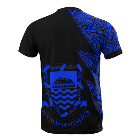 Image of Tuvalu Custom Personalised T-Shirt - Polynesian Pattern Blue Style - BN09