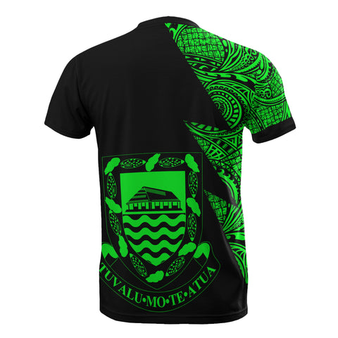 Tuvalu Custom Personalised T-Shirt - Polynesian Pattern Green Style - BN09