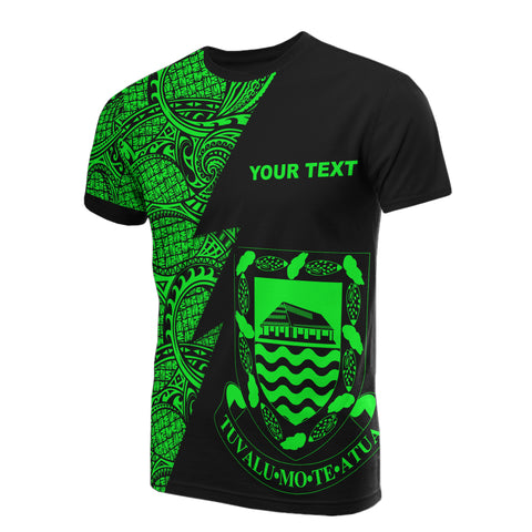 Tuvalu Custom Personalised T-Shirt - Polynesian Pattern Green Style