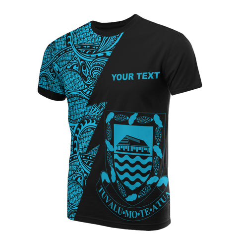 Image of Tuvalu Custom Personalised T-Shirt - Polynesian Pattern Neon Style