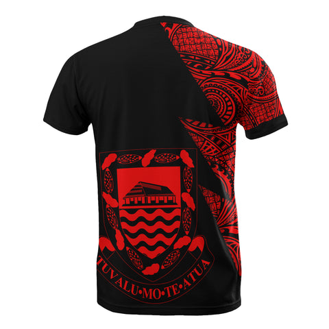 Tuvalu Custom Personalised T-Shirt - Polynesian Pattern Red Style - BN09