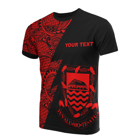 Tuvalu Custom Personalised T-Shirt - Polynesian Pattern Red Style