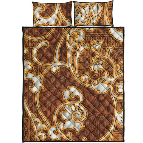 Image of Polynesian Quilt Bed Set - Flourish Style With Tribal Fabric - BN20