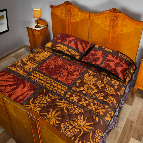 Polynesian Quilt Bed Set - Elements Fabric Patchwork - BN20