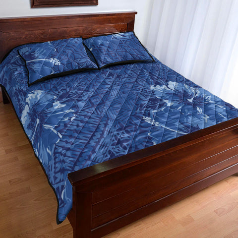Image of Polynesian Quilt Bed Set - Hibiscus Blue - BN20