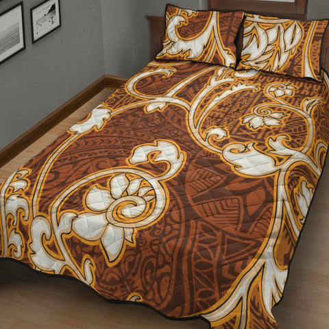 Polynesian Quilt Bed Set - Flourish Style With Tribal Fabric - BN20