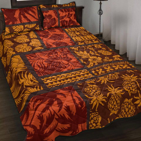 Image of Polynesian Quilt Bed Set - Elements Fabric Patchwork - BN20