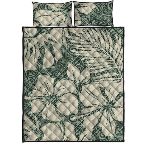 Polynesian Quilt Bed Set - Abstract Hibiscus Flowers With Tribal Background - BN20