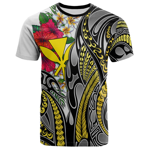 Hawaii T-Shirt White - Gold Tribal Pattern and Hisbiscus Plumeria