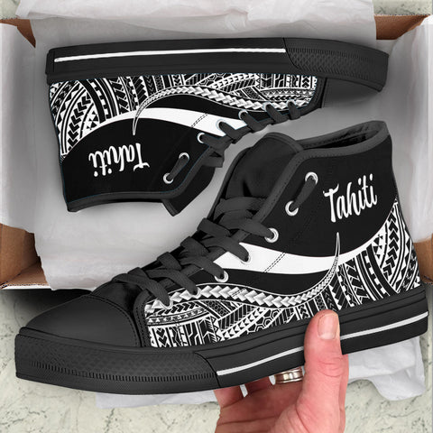 Tahiti High Top Shoes White - Polynesian Tentacle Tribal Pattern