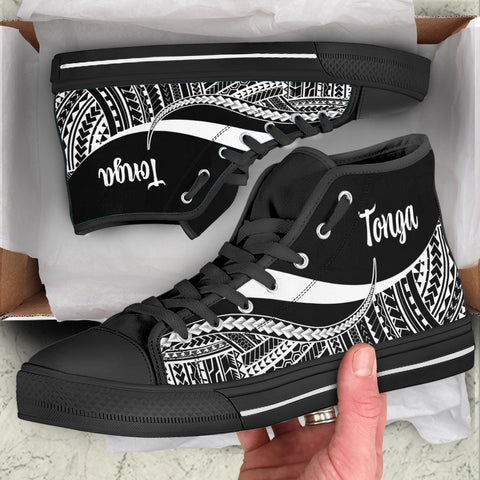 Image of Tonga High Top Shoes White - Polynesian Tentacle Tribal Pattern
