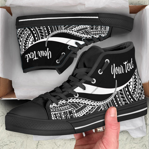 Hawaii Custom Personalised High Top Shoes White - Polynesian Tentacle Tribal Pattern