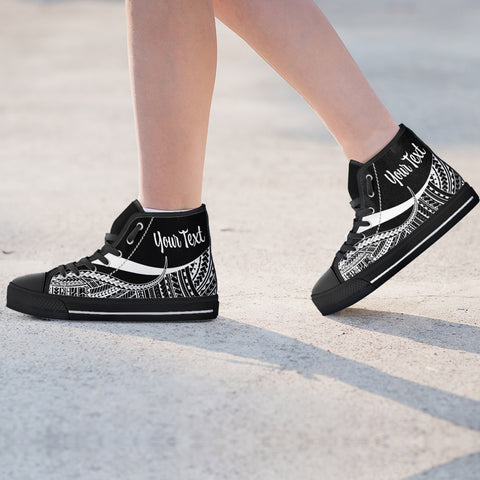 Image of Fiji Custom Personalised High Top Shoes White - Polynesian Tentacle Tribal Pattern - BN11