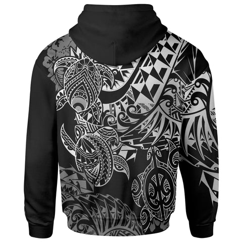 Tahiti Polynesian Zip-Up Hoodie - White Turtle Hibiscus Flowing
